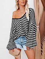 cheap -Women's Sweater Patchwork Striped Casual Long Sleeve Sweater Cardigans U Neck Fall Winter Spring khaki Green Black