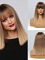 cheap -short straight blonde wig with bangs straight bob wigs for women shoulder length wig with bangs natural looking heat resistant fiber hair (ombre blonde)