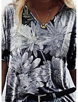 cheap -floral v-neckline short sleeve casual t-shirts