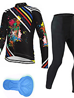 cheap -21Grams Men's Long Sleeve Cycling Jersey with Tights Spandex Polyester Black Stripes Graffiti Funny Bike Clothing Suit 3D Pad Quick Dry Moisture Wicking Breathable Back Pocket Sports Stripes Mountain