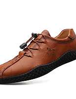 cheap -Men's Unisex Sneakers Crochet Leather Shoes Business Casual Vintage Daily Outdoor Leather Cowhide Handmade Non-slipping Shock Absorbing Black Brown Fall Winter