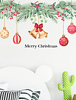 cheap -Christmas Bells Coloured Ball Wall Stickers Bedroom Living Room Removable Pre-pasted PVC Home Decoration Wall Decal 2pcs