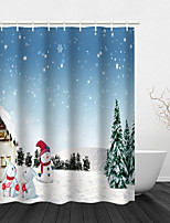 cheap -Christmas Shower Curtain Bathroom Decoration Waterproof Contains With Hook Snowman Gift Tree