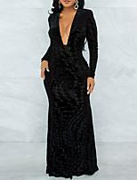 cheap -Women's Sheath Dress Maxi long Dress Black Long Sleeve Solid Color Split Fall V Neck Elegant Sexy Regular Fit 2021 S M L XL / Party Dress