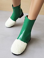 cheap -Women's Boots Cuban Heel Round Toe Booties Ankle Boots Daily Cotton PU Color Block Green White Black / Booties / Ankle Boots
