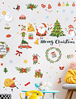 cheap -Christmas Cartoon Wall Stickers Living Room Kids Room Kindergarten Removable Pre-pasted PVC Home Decoration Wall Decal 9pcs