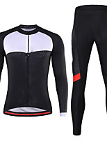 cheap -21Grams Men's Long Sleeve Cycling Jersey with Tights Winter Spandex Black 3D Bike Quick Dry Moisture Wicking Sports Graphic Mountain Bike MTB Road Bike Cycling Clothing Apparel / Stretchy / Athletic