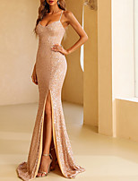 cheap -Mermaid / Trumpet Sparkle Sexy Party Wear Formal Evening Dress V Neck Spaghetti Strap Sleeveless Floor Length Sequined with Split 2021