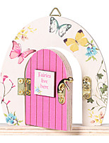 cheap -Pink Butterfly Wooden Ornaments Cute Wind Fairy Door Ornaments Desktop Wooden Door Ornaments