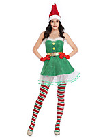 cheap -Santa Suit Cosplay Costume Adults' Women's Christmas Christmas Christmas Festival / Holiday Terylene Green Women's Easy Carnival Costumes Solid Color / Dress / Gloves / Hat