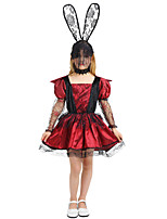 cheap -Vampire Dress Costume Broken Doll Party Prom Child's Teen Girls' Gothic Guro Lolita Halloween Festival / Holiday Drak Red Easy Carnival Costumes