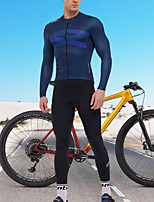 cheap -SANTIC Men's Long Sleeve Cycling Jersey with Tights Blue Grey Bike Quick Dry Sports Geometric Mountain Bike MTB Road Bike Cycling Clothing Apparel / Stretchy / Athletic / Athleisure