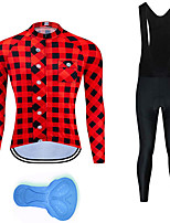 cheap -21Grams Men's Long Sleeve Cycling Jersey with Bib Tights Summer Spandex Polyester Red Plaid Checkered Funny Bike Clothing Suit 3D Pad Quick Dry Moisture Wicking Breathable Back Pocket Sports Plaid