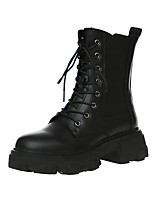 cheap -Women's Boots Chunky Heel Round Toe Mid Calf Boots Daily PU Lace-up Solid Colored Black / Mid-Calf Boots