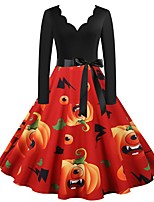 cheap -A-Line Gothic Vintage Halloween Party Wear Dress V Neck Long Sleeve Knee Length Stretch Fabric with Bow(s) Pattern / Print 2021