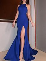 cheap -Mermaid / Trumpet Sexy bodycon Engagement Formal Evening Dress Jewel Neck Sleeveless Court Train Spandex Stretch Fabric with Split 2021
