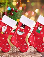 cheap -Christmas Stockings Fabric Santa Claus Sock Gift Kids Candy Bag Snowman Deer Pocket Hanging Xmas Tree Ornament New Year