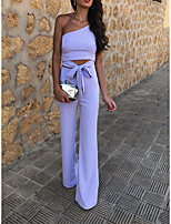 cheap -Jumpsuits Minimalist Elegant Party Wear Wedding Guest Dress One Shoulder Sleeveless Floor Length Stretch Fabric with Bow(s) 2021