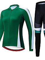 cheap -21Grams Women's Long Sleeve Cycling Jersey with Tights Spandex Polyester Green Patchwork Funny Bike Clothing Suit 3D Pad Quick Dry Moisture Wicking Breathable Back Pocket Sports Patchwork Mountain