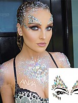 cheap -3D Sexy Face Tattoo Stickers Temporary Tattoos Glitter Fake Tattoo Rhinestones For Woman Party Face Jewels Tattoo
