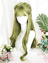 cheap -Green Lolita wig Cosplay wig Long natural wave synthetic hair resistant high temperature wig female American