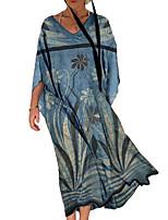cheap -Women's Swing Dress Maxi long Dress Purple Khaki Orange Red Light Blue 3/4 Length Sleeve Floral Color Block Print Fall V Neck Casual 2021 S M L XL XXL 3XL