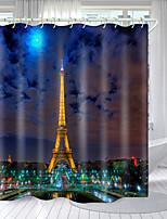 cheap -Paris tower Series Digital Printing Shower Curtain Shower Curtains Hooks Modern Polyester New Design