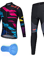 cheap -21Grams Men's Long Sleeve Cycling Jersey with Tights Spandex Polyester Black Geometic Funny Bike Clothing Suit 3D Pad Quick Dry Moisture Wicking Breathable Back Pocket Sports Patterned Mountain Bike