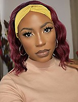 cheap -Short Wine Red Wavy Headband Wig for Black Women Curly Half Wigs with Headband Attached Synthetic Wrap Wigs Turban Wigs for Women(Red)