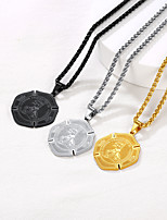 cheap -Pendant Necklace Necklace Men's Women's Stainless Steel Silver Gold Black 55+5 cm Necklace Jewelry 1pc for Street Gift Daily Round