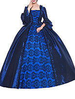 cheap -Ball Gown Elegant Vintage Halloween Quinceanera Dress Square Neck Long Sleeve Sweep / Brush Train Satin with Ruffles Pattern / Print 2021