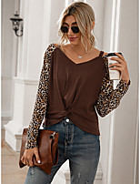 cheap -Women's Painting T shirt Color Block Leopard Long Sleeve Cut Out Print V Neck Basic Tops Gray Black Brown