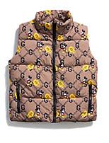 cheap -Men's Down Gilet Daily Fall Winter Regular Coat Regular Fit Thermal Warm Casual Jacket Sleeveless Print Print Yellow Khaki