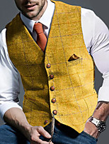 cheap -Men's Vest Gilet Daily Spring Summer Short Coat Regular Fit Lightweight Breathable Business Casual Jacket Sleeveless Plaid / Check Solid Color Pocket Dark Grey Yellow