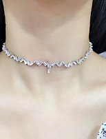cheap -Choker Necklace Torque Necklace Women's Classic Cubic Zirconia Simple Fashion Classic Casual / Sporty Sweet Cute Silver 50 cm Necklace Jewelry 1pc for Street Gift Daily Prom Festival Geometric