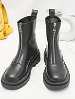 cheap -Women's Boots Flat Heel Round Toe PU Solid Colored Black