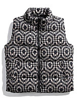 cheap -Men's Down Gilet Daily Fall Winter Regular Coat Zipper Stand Collar Regular Fit Thermal Warm Casual Jacket Sleeveless Print Print Blue Black