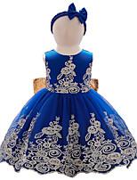 cheap -Kids Little Girls' Dress Jacquard Party Bow Blue Blushing Pink Wine Knee-length Sleeveless Cute Sweet Dresses Children's Day Slim 1-5 Years