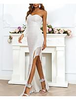 cheap -Sheath / Column Glittering Sparkle Party Wear Formal Evening Dress One Shoulder Long Sleeve Floor Length Sequined with Tassel Split 2021