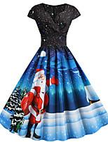 cheap -Santa Suit Audrey Hepburn Dress Swing Dress Adults' Women's Vintage Festival Christmas New Year Festival / Holiday Terylene Purple / Blue / Ink Blue Women's Easy Carnival Costumes Snowflake Christmas