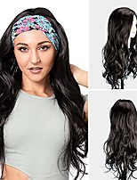 cheap -Black Middle Part Wavy Wig for Women Ladies, Synthetic Headband Wig with 1 Headband (26Inch)
