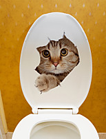cheap -Cute Cat Wall Stickers Kids Room Kindergarten Toilet Removable Pre-pasted PVC Home Decoration Wall Decal 1pc