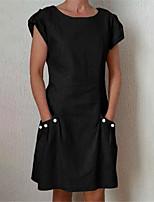 cheap -Women's Shift Dress Knee Length Dress Blue Wine Gray Green Orange Black Short Sleeve Solid Color Pocket Button Spring Summer Crew Neck Basic Casual Regular Fit 2021 S M L XL XXL 3XL 4XL 5XL / Cotton