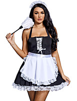cheap -Maid Costume Dress Cosplay Costume Adults' Women's Halloween Halloween Halloween Festival / Holiday Terylene Black Women's Easy Carnival Costumes Solid Color / Apron / Headwear