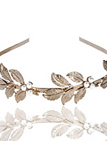 cheap -2 Pcs/set Pearl Headband Leaf Headband Baroque Golden Bridal Headwear Environmental Protection Hair Accessories Christmas Gifts