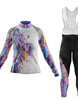 cheap -21Grams Women's Long Sleeve Cycling Jersey with Bib Tights Summer Spandex Polyester White 3D Graffiti Funny Bike Clothing Suit 3D Pad Quick Dry Moisture Wicking Breathable Back Pocket Sports 3D