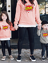 cheap -Tops Mommy and Me Heart Letter Daily Print Blushing Pink Gray White Long Sleeve Daily Matching Outfits / Fall / Cute