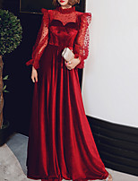 cheap -A-Line Gothic Elegant Prom Formal Evening Dress Jewel Neck Long Sleeve Floor Length Velvet with Pleats Polka Dot 2021