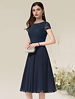 cheap -A-Line Flirty Elegant Homecoming Wedding Guest Dress Jewel Neck Short Sleeve Tea Length Chiffon with Pleats 2021