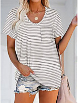 cheap -casual short sleeve stripes fashion shirts & tops